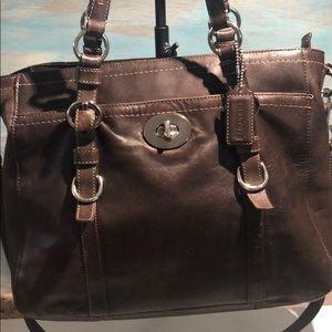 Authentic Coach brown leather handbag / Large